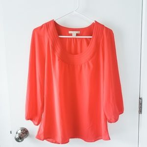 Banana Republic Factory Coral 3/4 Sleeve Blouse